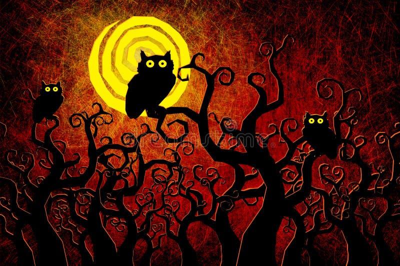 Grunge ha strutturato la priorità bassa di notte di Halloween illustrazione di stock