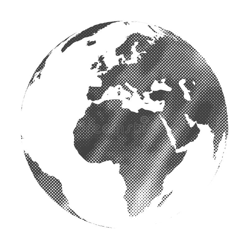 Grunge halftone texture gray world map globe illustration royalty free illustration