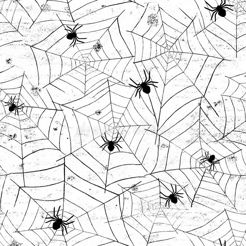 Grunge halloween abstract watercolor seamless pattern background with webs and spiders vector illustration