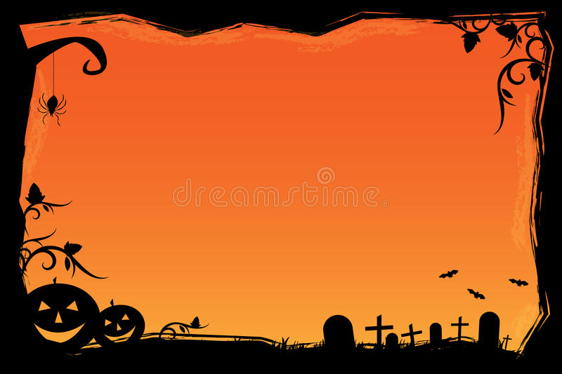Grunge Halloween frame. Illustration of a grunge Halloween frame with pumpkins,bats,graves and a spider.EPS file available vector illustration