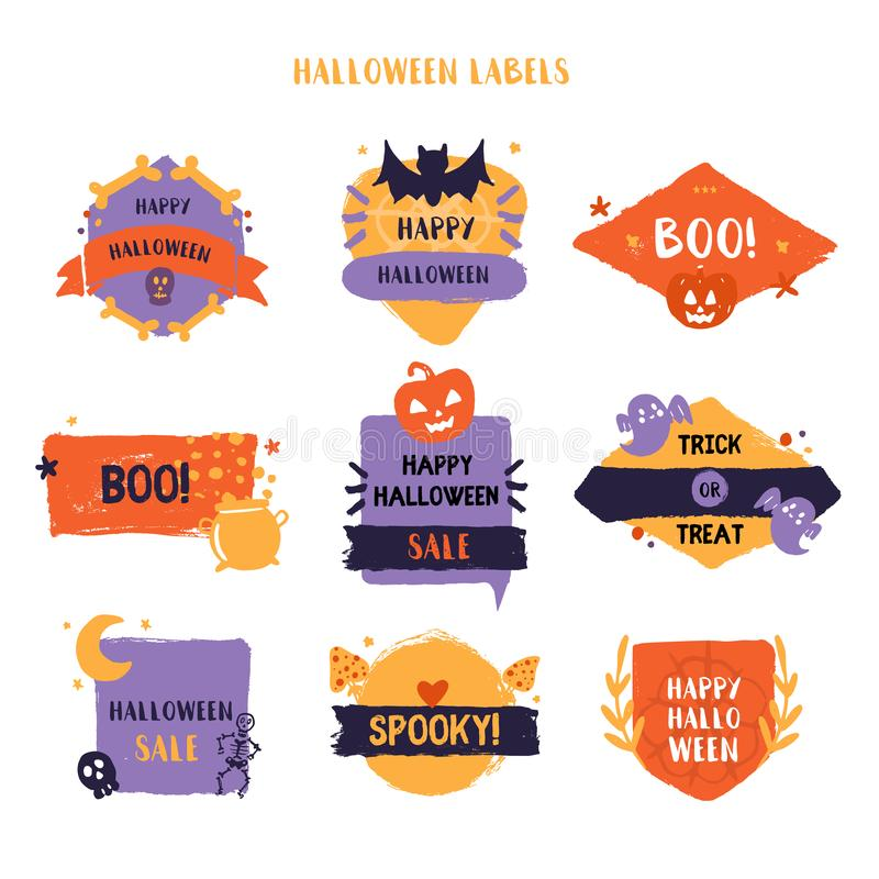 Grunge Halloween label set. Spooky badge collection. Promotion design with pumpkin, ghost stock illustration