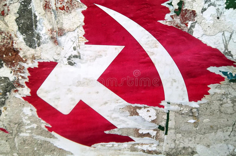 Grunge hammer and sickle stock photo