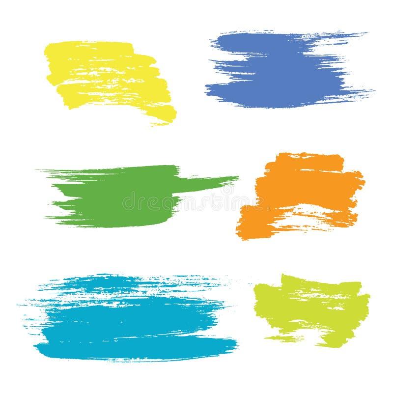 Grunge hand drawn brush stroke vector set. royalty free illustration