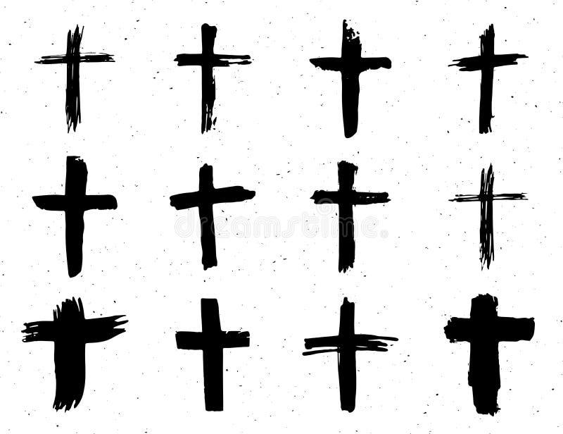 Grunge hand drawn cross symbols set. Christian crosses, religious signs icons, crucifix symbol vector illustration isplated on whi royalty free illustration
