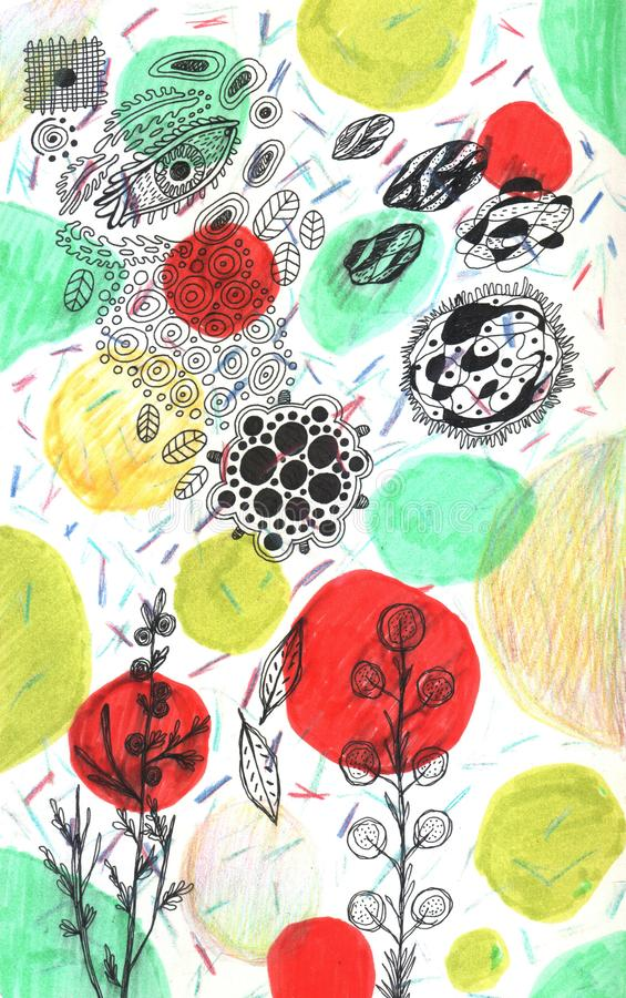Grunge hand drawn floral texture. Flowers and color dots. Ink and marker drawings for background design. Raster illustration.  royalty free stock image