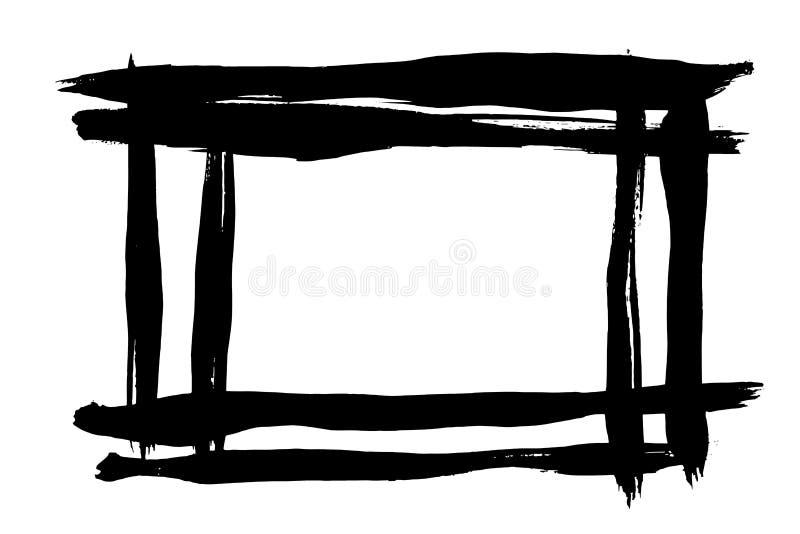 Grunge hand drawn paint brush stripe. Vector black ink brush stroke. Paint background high detail. Dirty design element, box, fram royalty free illustration