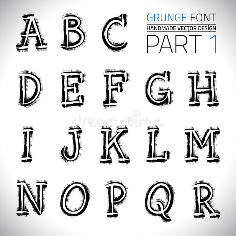 Grunge Hand Made Vector Font royalty free illustration