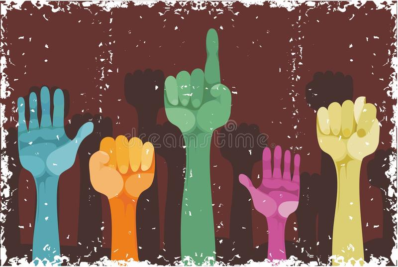 Grunge Hands Up With Different Gestures Royalty Free Stock Photo