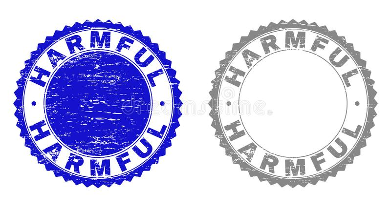 Grunge HARMFUL Textured Watermarks. Grunge HARMFUL stamp seals isolated on a white background. Rosette seals with grunge texture in blue and grey colors. Vector vector illustration