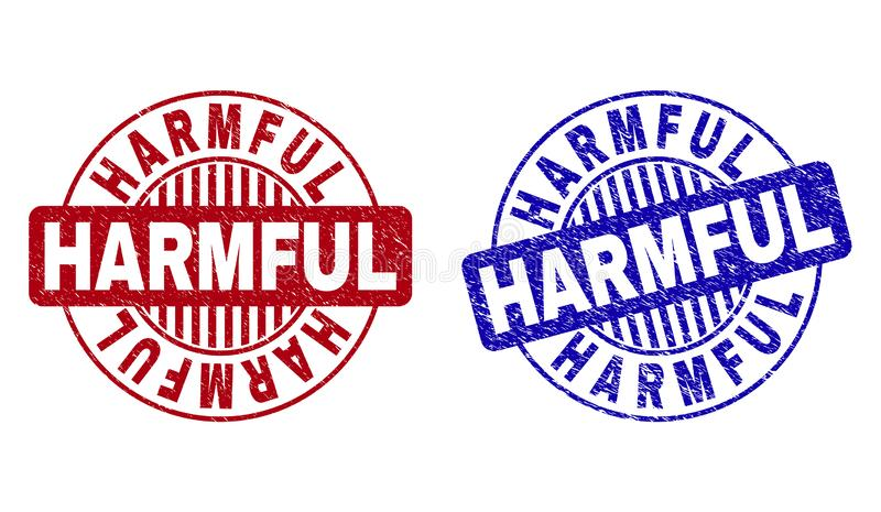 Grunge HARMFUL Textured Round Watermarks. Grunge HARMFUL round stamp seals isolated on a white background. Round seals with distress texture in red and blue vector illustration