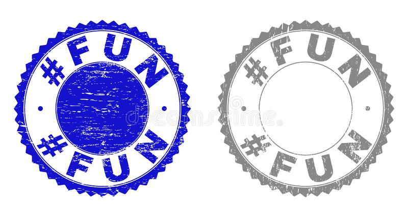 Grunge Hashtag FUN Textured Stamp Seals. Grunge Hashtag FUN stamp seals isolated on a white background. Rosette seals with distress texture in blue and grey stock illustration