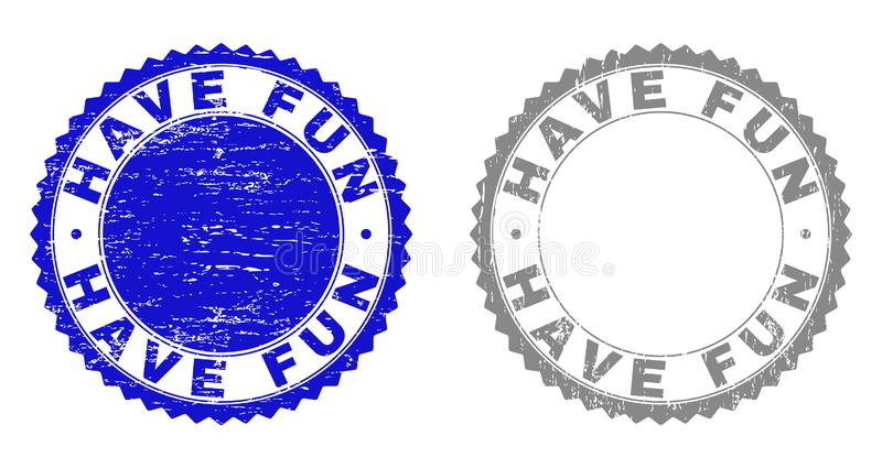 Grunge HAVE FUN Scratched Stamp Seals. Grunge HAVE FUN stamp seals isolated on a white background. Rosette seals with distress texture in blue and grey colors stock illustration
