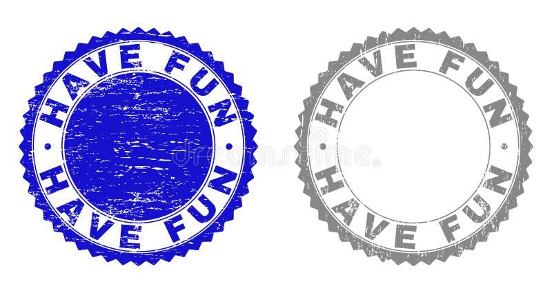 Grunge HAVE FUN Scratched Stamp Seals stock illustration