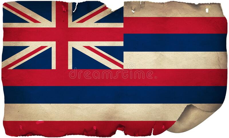 Hawaii State Flag On Old Paper. A grunge Hawaii State flag on old torn paper royalty free stock photo