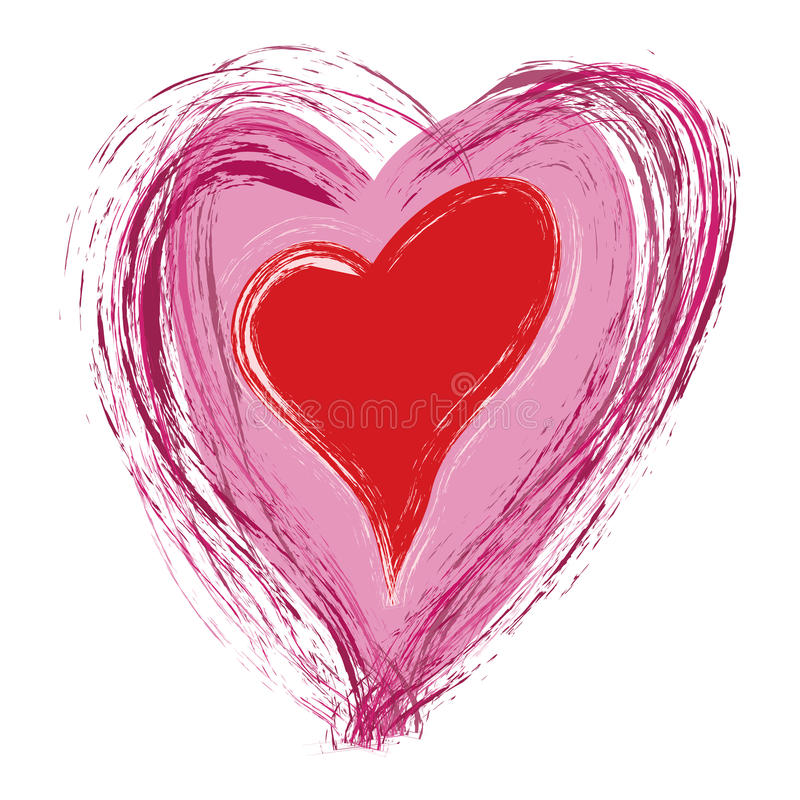 Grunge Heart. Grungy Valentine heart on white background
