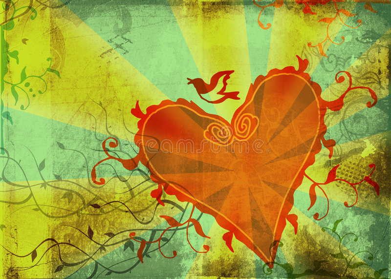 Grunge heart and floral shapes stock illustration