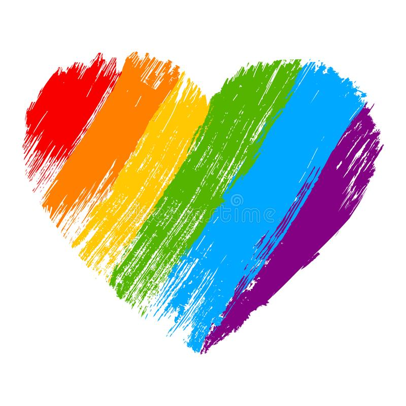 Grunge heart in rainbow color. LGBT pride symbol. Vector illustration stock illustration
