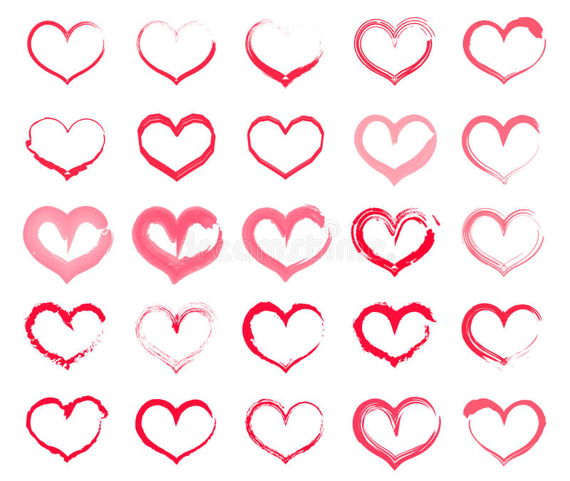 Grunge heart set. Collection of hand drawing hearts with different tools like brushes stock illustration