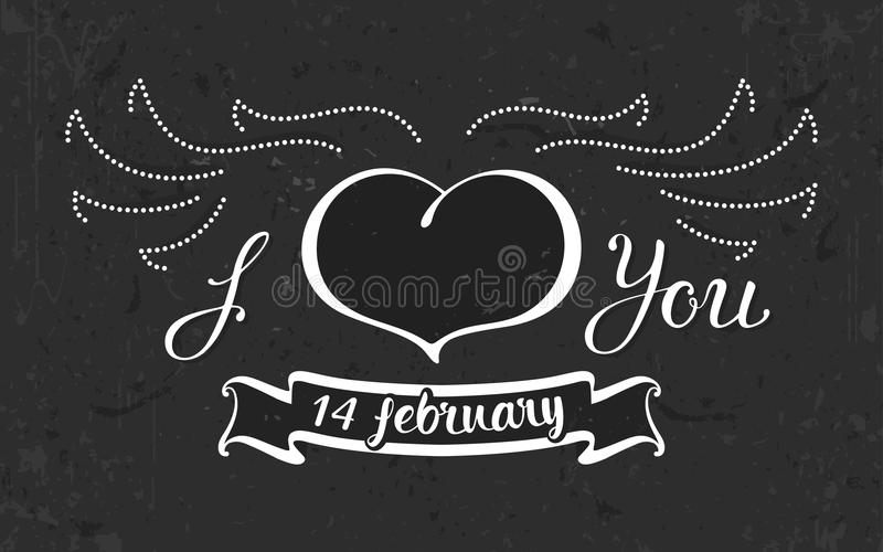 Grunge Heart with wings and ribbon on the black background royalty free stock photo