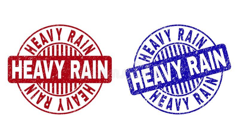 Grunge HEAVY RAIN Drapający Wokoło znaczków ilustracji
