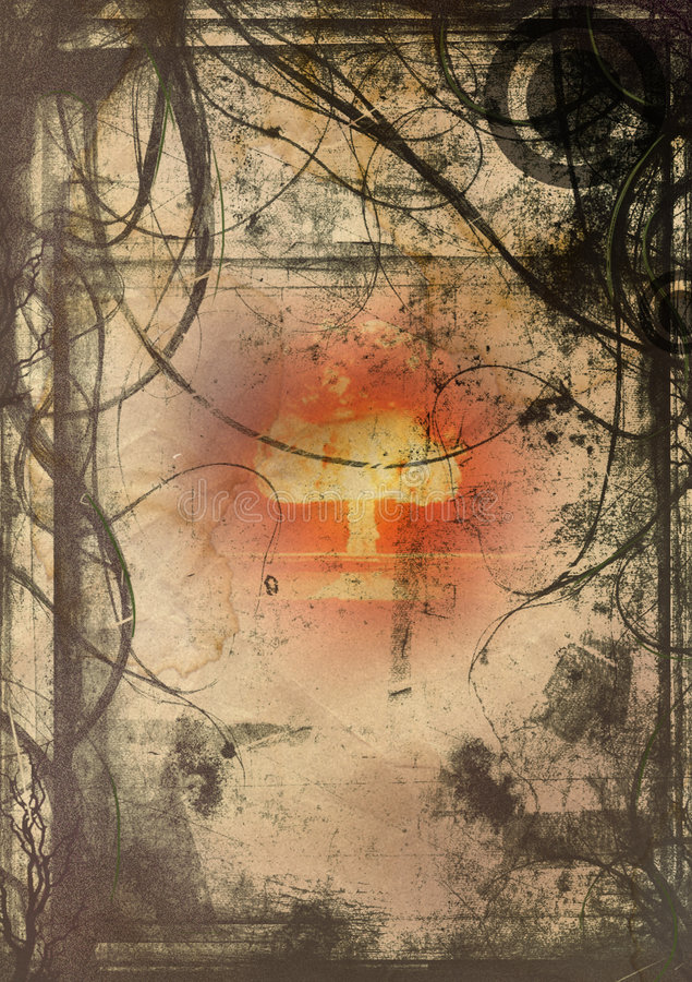 Grunge hell. Image of an exploding bomb in abstract grunge background vector illustration