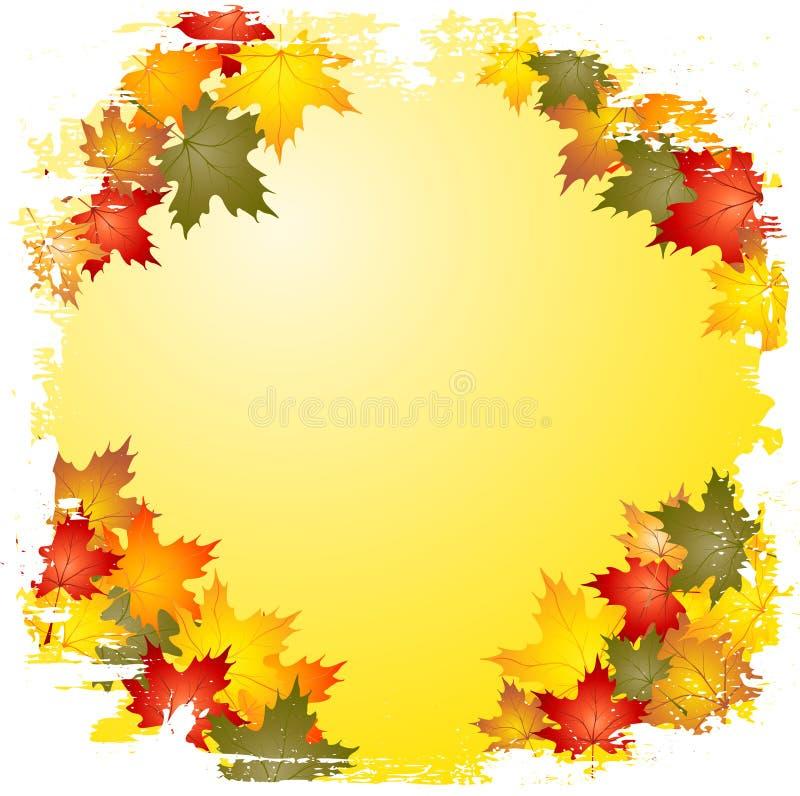 Grunge Herbst-Blattrand stock abbildung