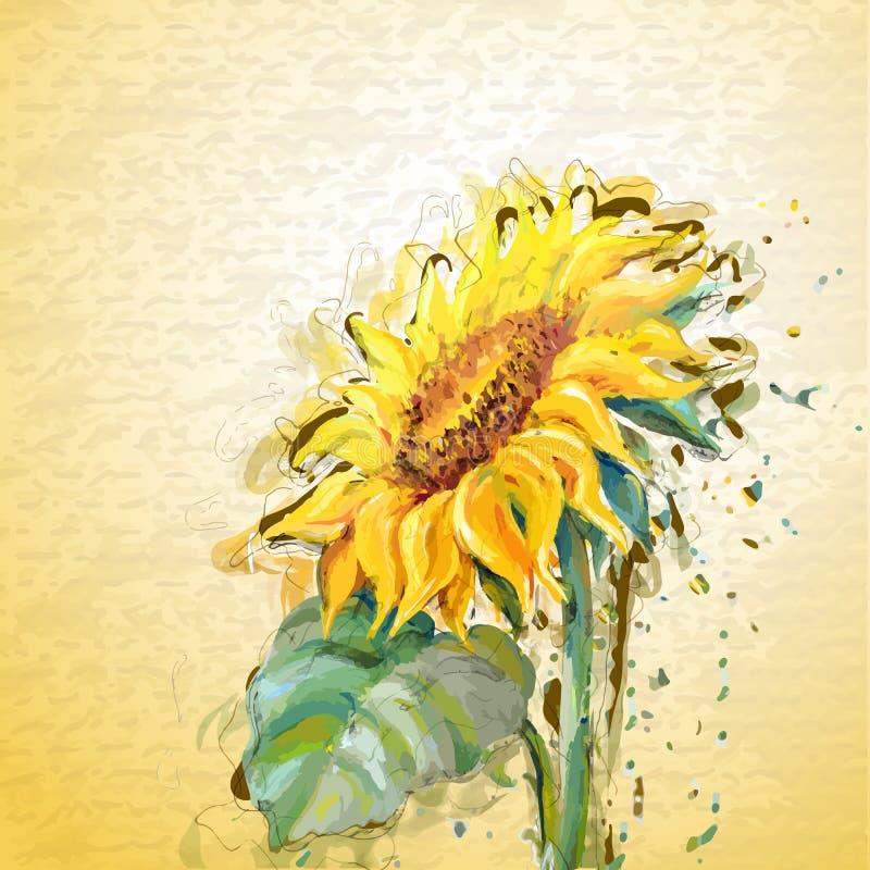 Grunge het schilderen zonnebloem stock illustratie