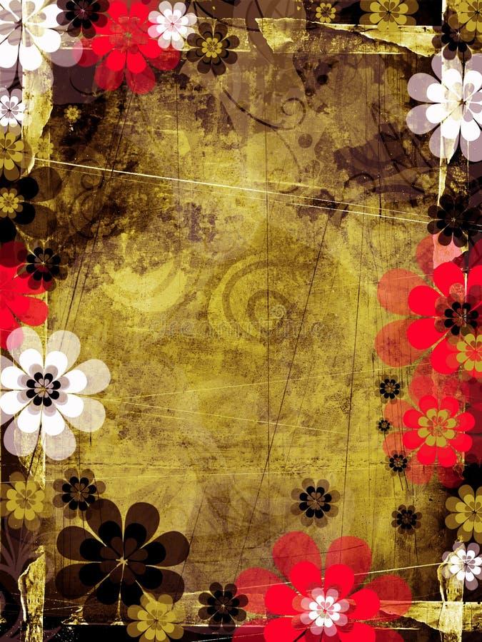 Grunge Hintergrund mit Blumenelementen stock abbildung