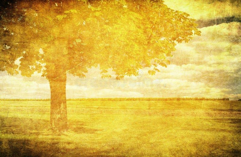 Grunge Hintergrund mit dem einsamen Baum in archiviert lizenzfreie abbildung
