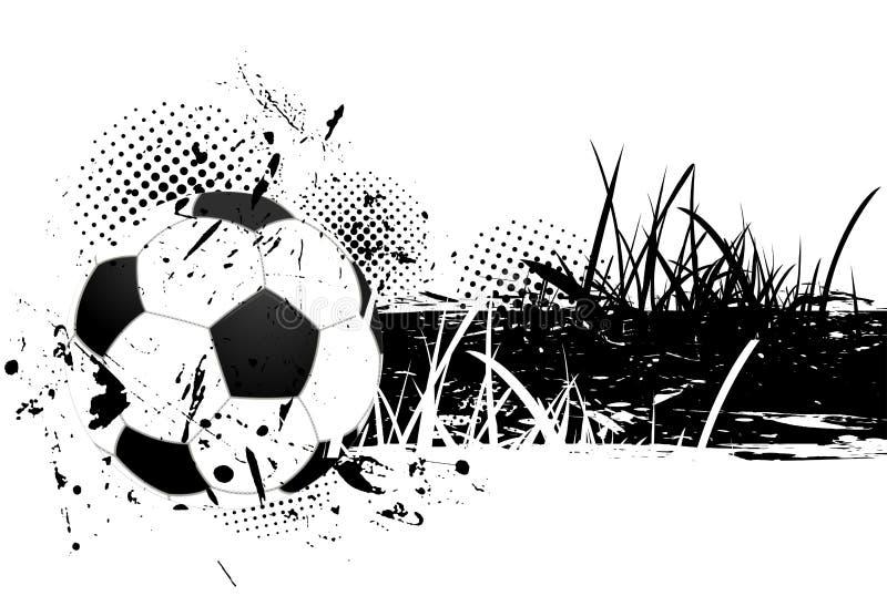 Grunge Hintergrund mit Fußballkugel stock abbildung