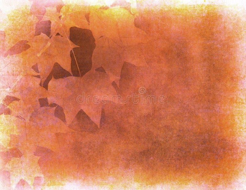 Grunge Hintergrund mit Herbstblättern stock abbildung