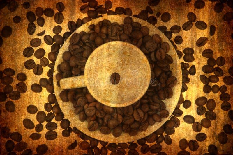 Grunge Hintergrund mit Kaffeeelementen lizenzfreies stockfoto