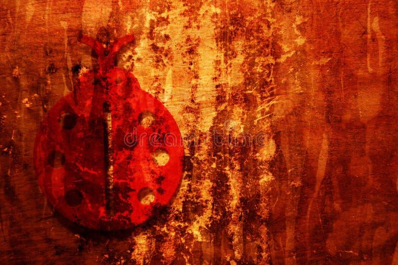 Grunge Hintergrund mit Marienkäfer stockfotos