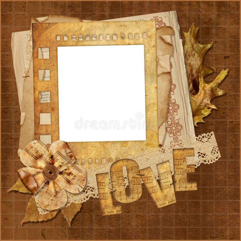 Grunge Hintergrund mit musikalischer Liebe lizenzfreie abbildung