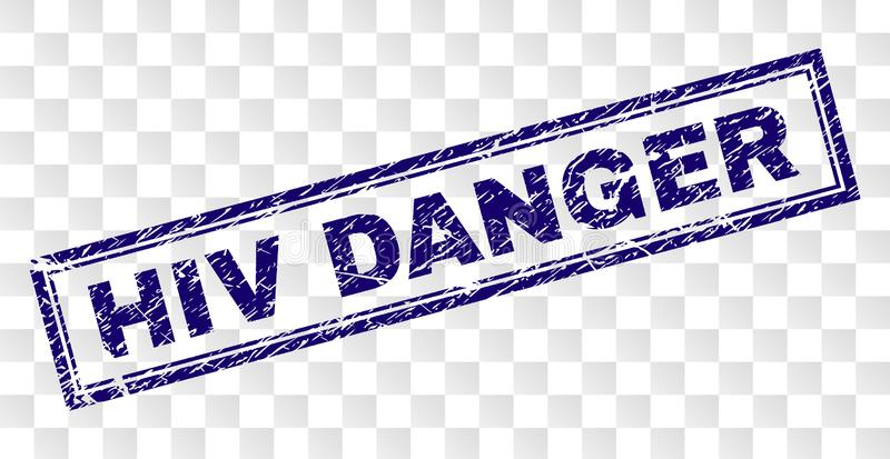 Grunge HIV DANGER Rectangle Stamp. HIV DANGER stamp seal imprint with rubber print style and double framed rectangle shape. Stamp is placed on a transparent stock illustration