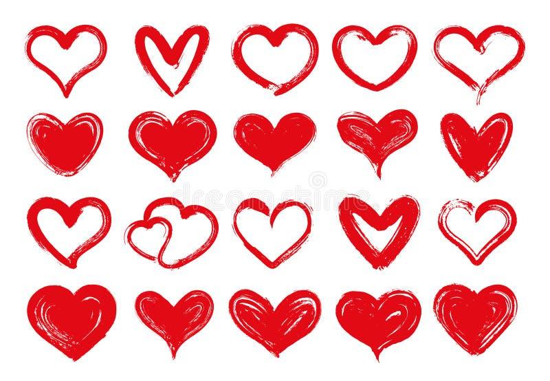 Grunge hjärtor Utdragen röd hjärta för hand, älskad valentin för älsklingar och dra det grungy kortet för valentindaghälsning royaltyfri illustrationer
