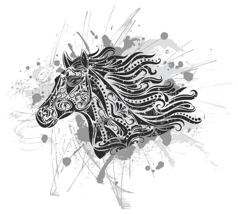 Download Grunge horse. stock vector. Image of drawing, mare, grunge - 16837864