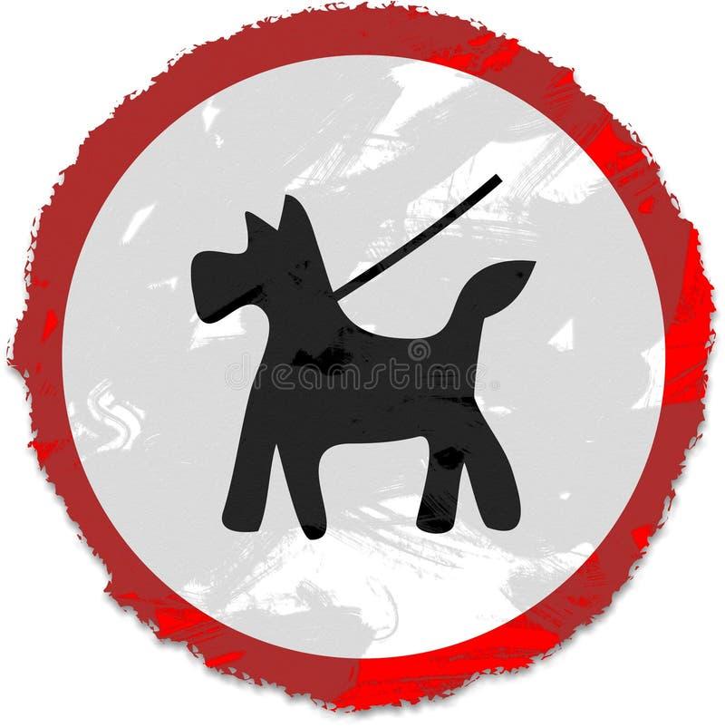 Grunge houdt hond op loodteken vector illustratie