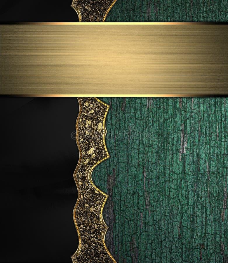 Grunge houten textuur met gouden patroon en een teken voor tekst stock illustratie