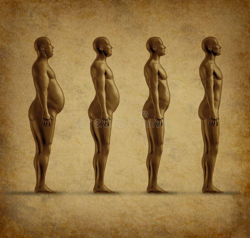 Grunge humano da perda de peso ilustração royalty free