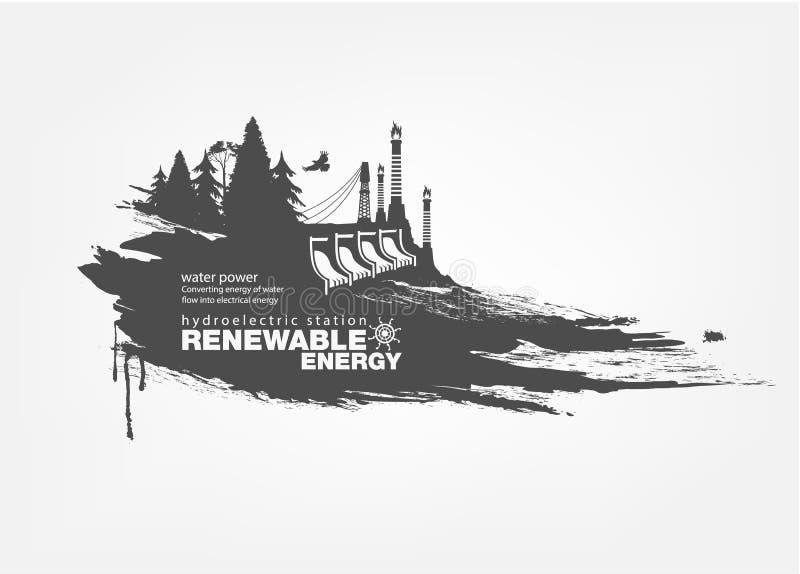 Grunge Hydroelektryczna stacyjna energia odnawialna ilustracji