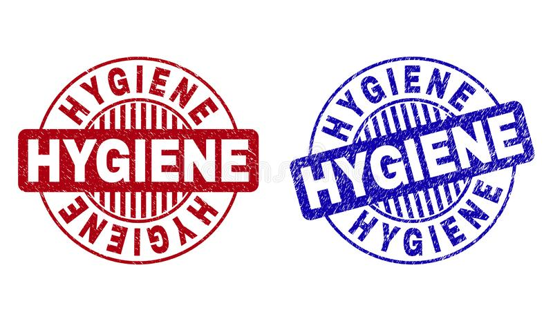 Grunge HYGIENE Textured Round Stamp Seals. Grunge HYGIENE round stamp seals isolated on a white background. Round seals with grunge texture in red and blue stock illustration