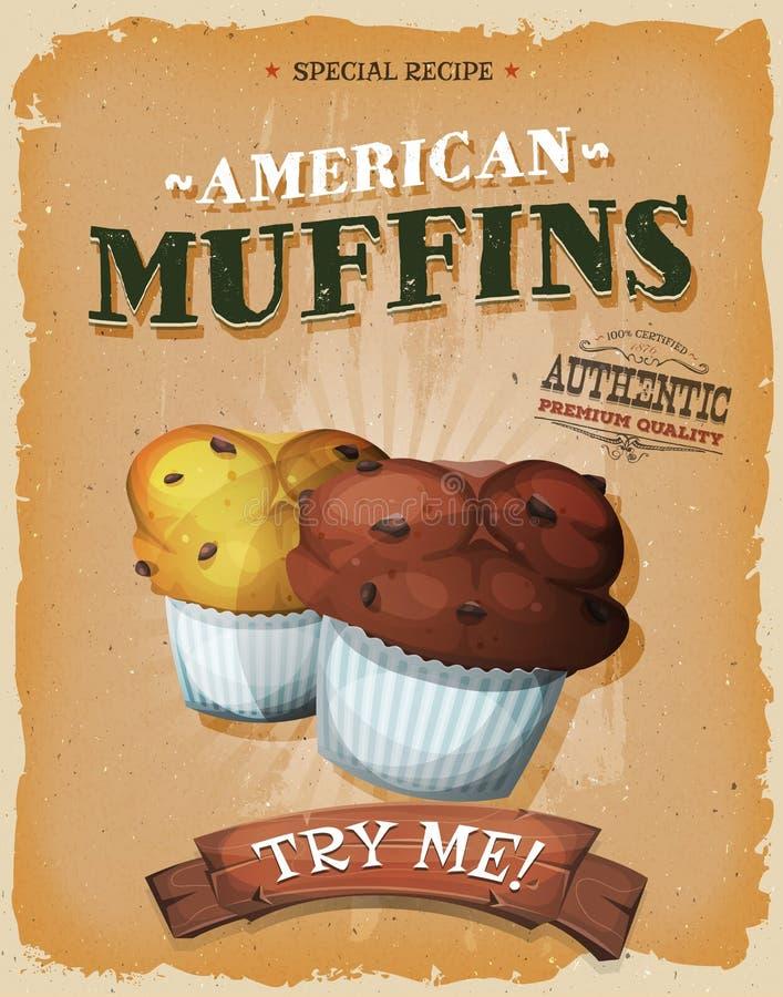 Grunge I rocznika Amerykańscy Muffins Plakatowi ilustracja wektor