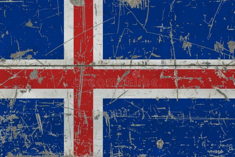 Grunge Iceland flaga na starej porysowanej drewnianej powierzchni Krajowy rocznika tło ilustracji