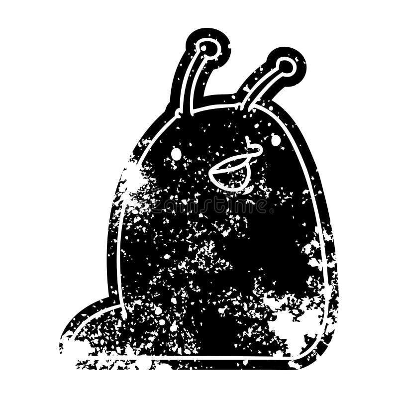 Grunge icon of a cute kawaii slug. A creative illustrated grunge icon image of a cute kawaii slug stock illustration