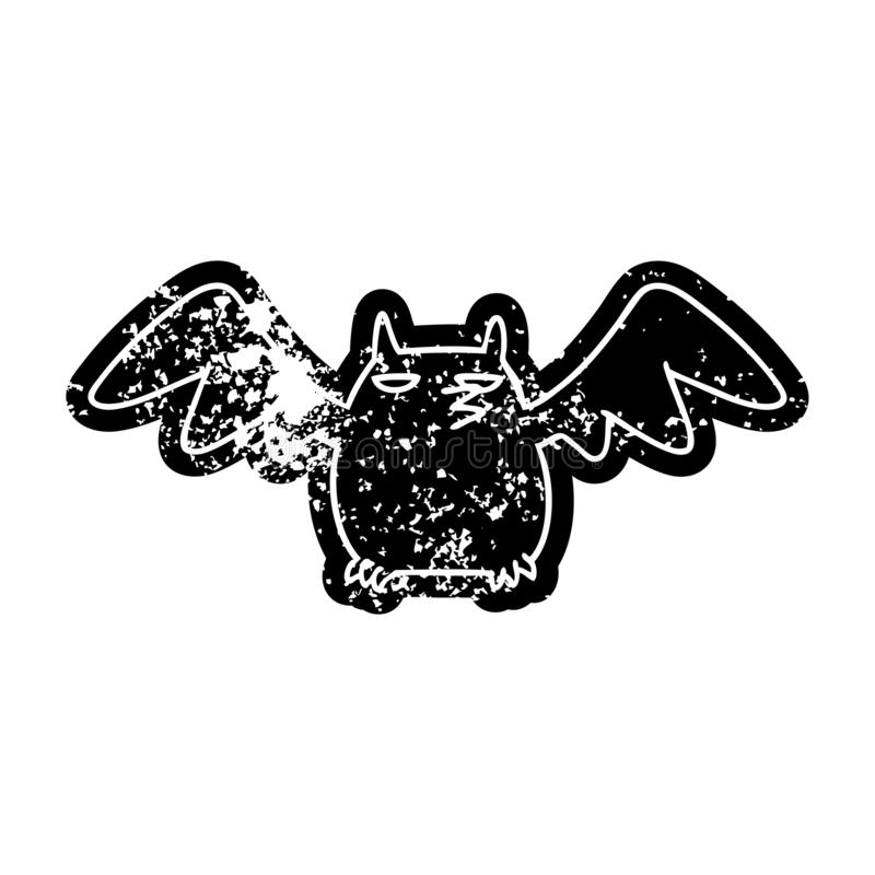 grunge icon drawing of a night bat vector illustration