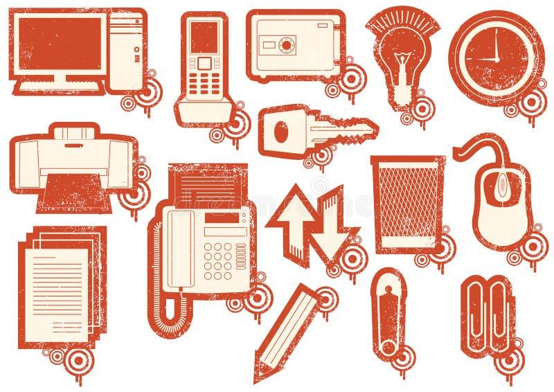 Grunge icons of red symbols stock image