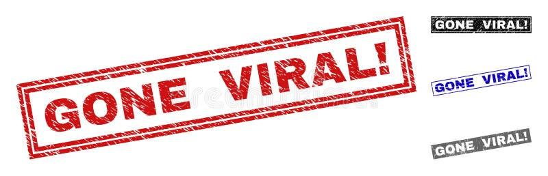 Grunge IDO VIRAL! Filigranas Textured do retângulo ilustração stock
