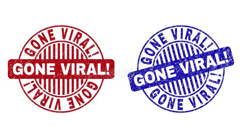 Grunge IDO VIRAL! Selos redondos Textured do selo ilustração stock