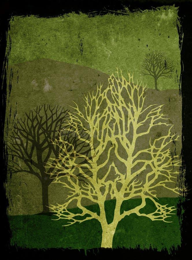 grunge ilustracji zielone drzewa royalty ilustracja